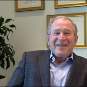"""Evan Smith speaks with President George W. Bush at the featured session """"President George W. Bush in conversation with Evan Smith"""" during SXSW Online on March 18, 2021."""