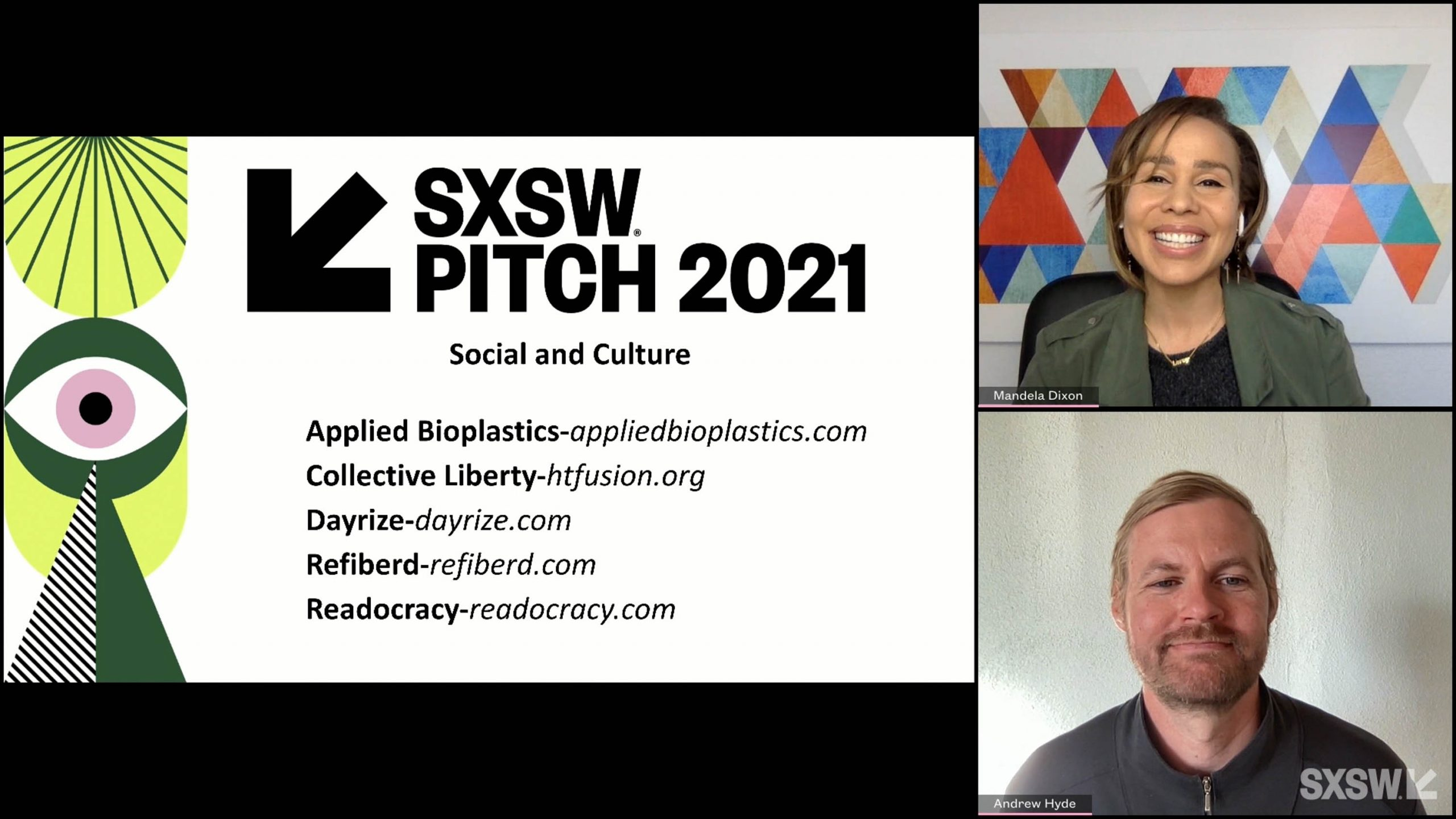 SXSW Pitch participant Applied Bioplastics wins the Social and Culture category at the SXSW Pitch Awards during SXSW Online on March 20, 2021.