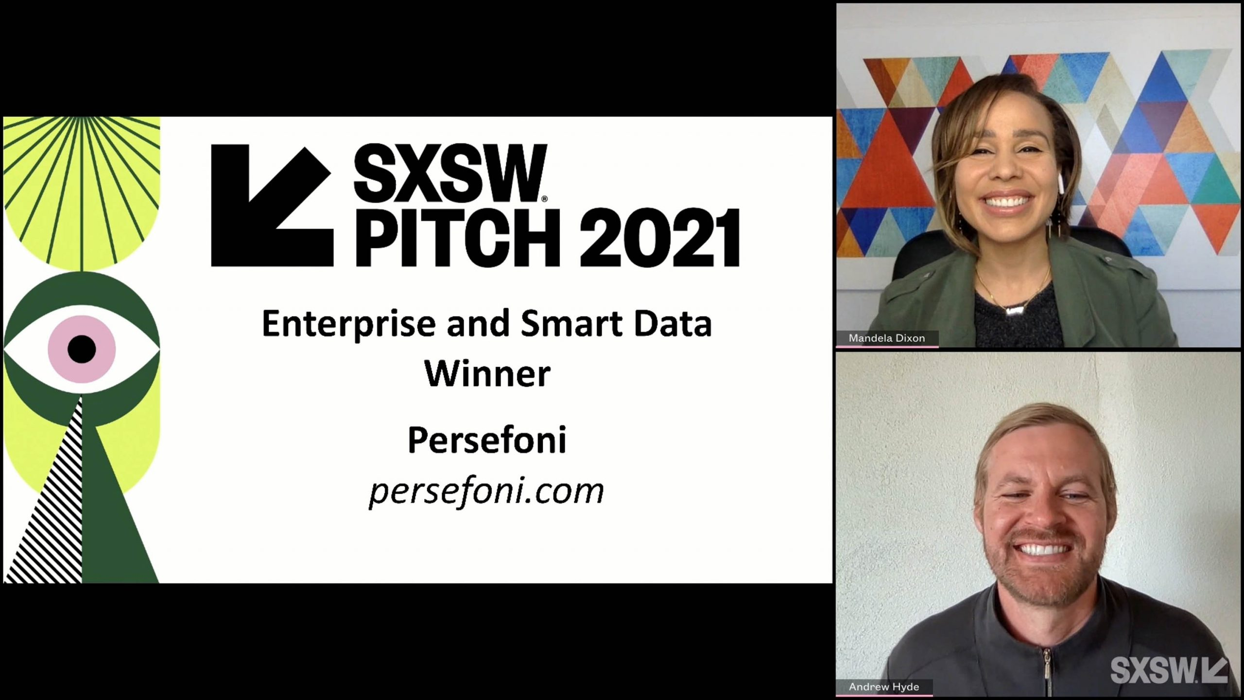 SXSW Pitch participant Persefoni wins the Enterprise and Smart Data category at the SXSW Pitch Awards during SXSW Online on March 20, 2021.