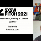 SXSW Pitch participant holoride wins the Entertainment, Gaming & Content category at the SXSW Pitch Awards during SXSW Online on March 20, 2021.