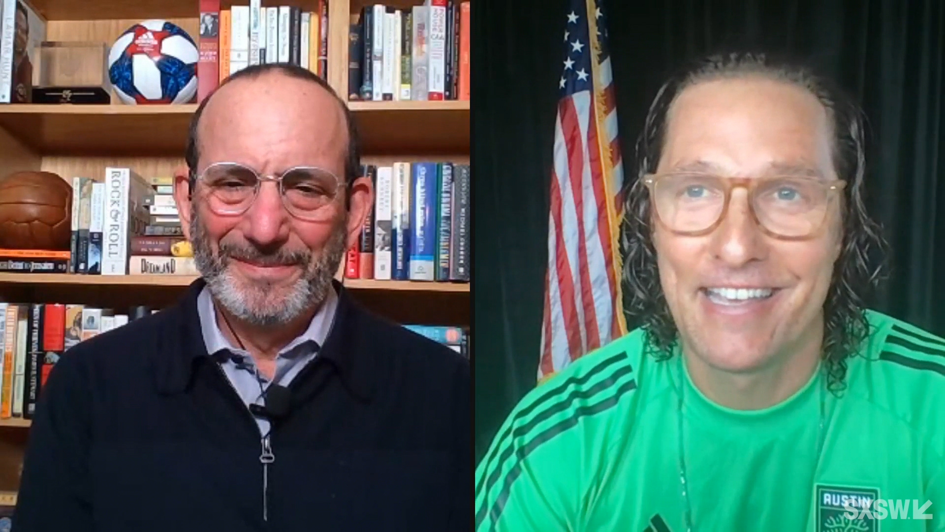 """Don Garber and Matthew McConaughey speak at the featured session """"The Future of the North American Soccer Experience"""" during SXSW Online on March 18, 2021."""