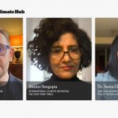 "Somini Sengupta, Chris Stark, Emma Howard Boyd, Dr. Leah Stokes, Rhian-Mari Thomas, Hindou Oumarou Ibrahim, Dr. Sweta Chakraborty, Nigel Topping, Joseph Majkut, Eva Jones, and Alexandria Villaseñor speak at the featured session ""The New York Times Climate Debate"" during SXSW Online on March 19, 2021"