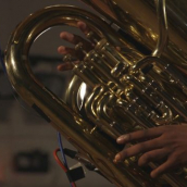 Theon Cross (tuba) performs at the SXSW Music Festival showcase presented by Jazz re:freshed Outernational during SXSW Online on March 16, 2021.