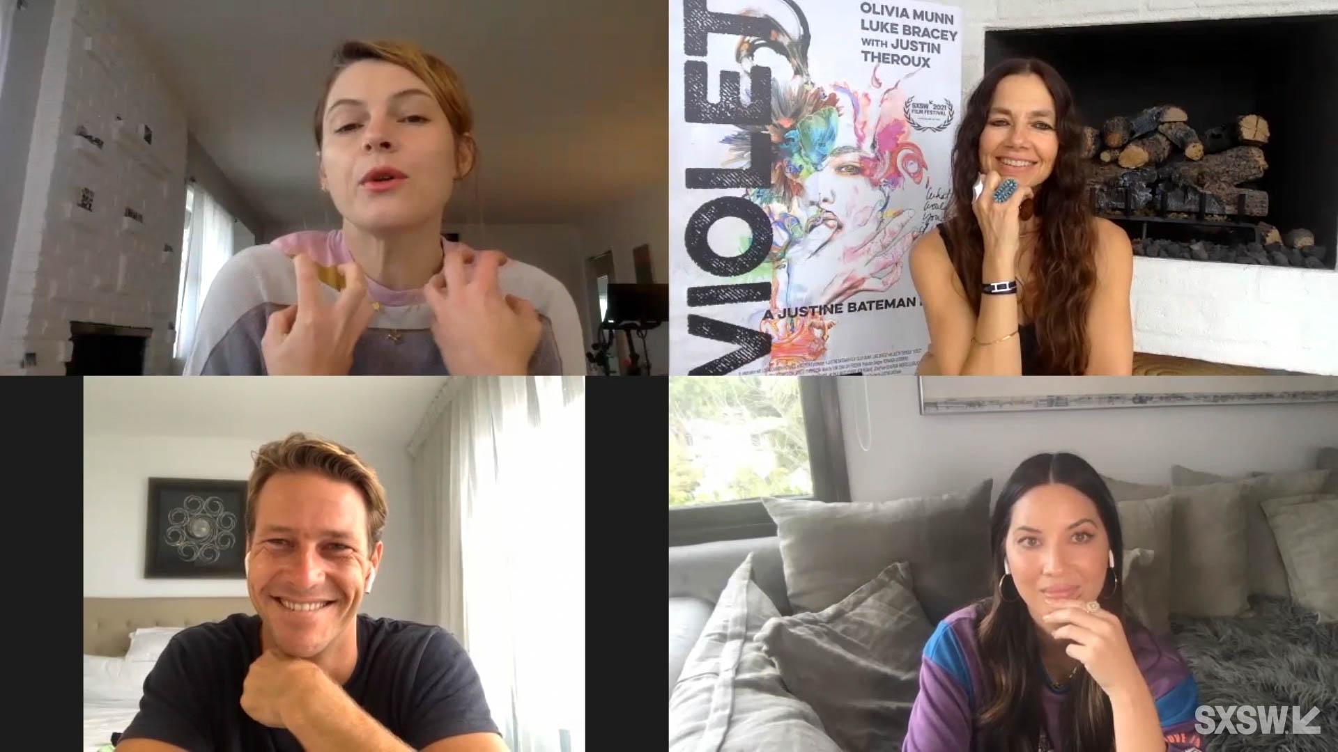 Amy Seimetz (moderator), Justine Bateman (director), Olivia Munn and Luke Bracey speak at SXSW Online on March 18, 2021.