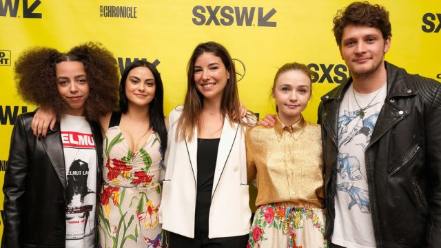 Carly Stone (center) and actors attend the premiere of The New Romantic. Photo by Ismael Quintanilla/Getty Images for SXSW